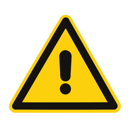 Other Danger And Hazard Sign, isolated, black general warning triangle over yellow, large macro