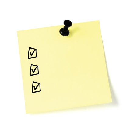 Yellow post-it sticker checklist, black check boxes and tick marks, thumbtack pushpin isolated, blank post-it to-do list sticky note