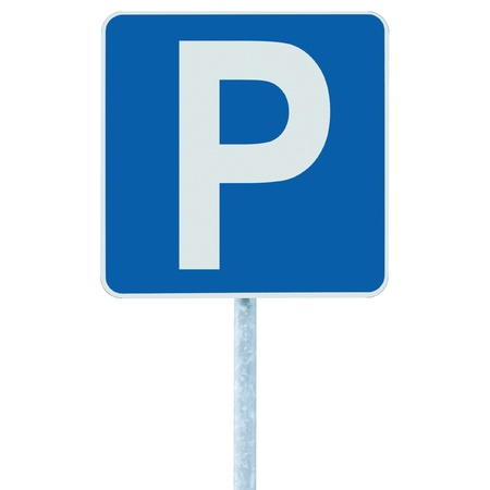 Parking place sign on post pole, traffic road roadsign, blue isolated