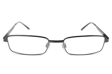 Eyeglasses, Black Men Spectacles, Titanium Frame, Isolated Macro Closeup