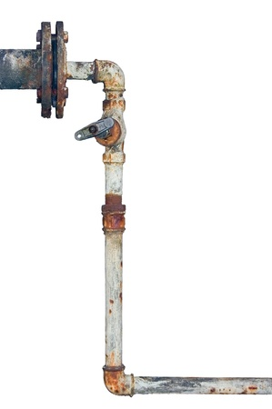 Old rusty pipes, aged weathered isolated grunge iron pipeline and plumbing connection joints with industrial tap fittings, faucets and valve