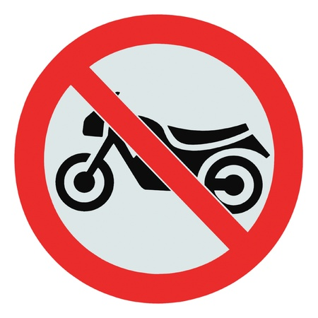 No motorcycle sign, isolated no bikes allowed prohibition zone warning signage