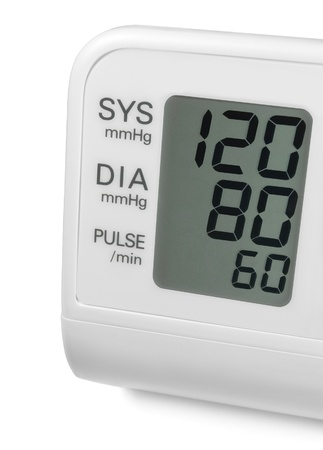 Digital blood pressure wrist tonometer monitor display screen showing ideal optimum 120 80 60 systolic diastolic pulse, isolated macro closeup