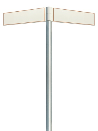 Direction road signs, two empty blank signpost signages, isolated directional roadside guidepost pointer white copy space, beige frame, light grey pole post
