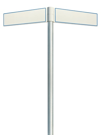 Direction road signs, two empty blank signpost signages, isolated directional roadside guidepost pointer white copy space, blue frame, light grey pole post