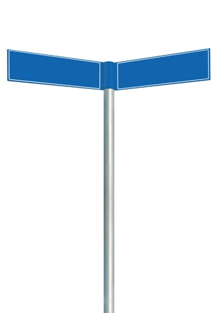 Blue direction road signs, two empty blank signpost signages, isolated directional roadside guidepost pointer copy space, white frame, light grey pole post