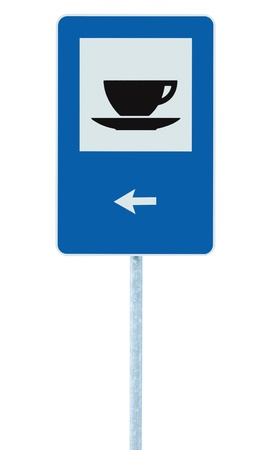 Restaurant road sign on post pole, traffic roadsign, blue isolated bistro dinner bar cafe cafeteria catering coffee tea cup service signage left hand pointing direction arrow