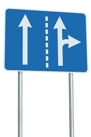 Appropriate traffic lanes at crossroads junction, right turn exit ahead, isolated blue road sign, white arrows, EU european roadside signage, abstract alternative route choice metaphor