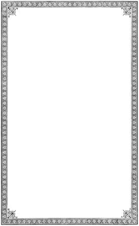 Old aged grungy vintage book vignette, isolated paper sheet page black frame background, vertical framed grunge copy space, letterpress relief print printing