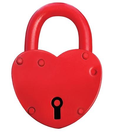 Photo pour Red Heart Lock Padlock Romance Love Valentine Day Concept, Large Isolated Macro Closeup Studio Shot - image libre de droit