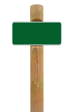 Green metal sign board signage copy space background, white frame roadsign, old aged weathered wooden pole post, isolated blank empty framed signboard rectangle, rectangular plate warning roadside signpost, grunge beige wood