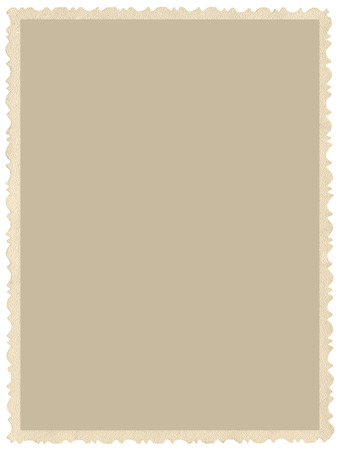 Foto de Old aged grunge edge sepia photo, blank empty vertical background, isolated yellow beige vintage photograph picture card border frame, retro postcard copy space, large detailed closeup - Imagen libre de derechos