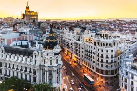 Panoramic aerial view of Gran Via, main shopping street in Madrid, capital of Spain, Europe