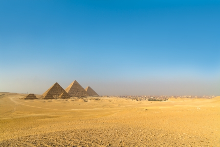 The Pyramids Of Giza On A Bright Sunny Day