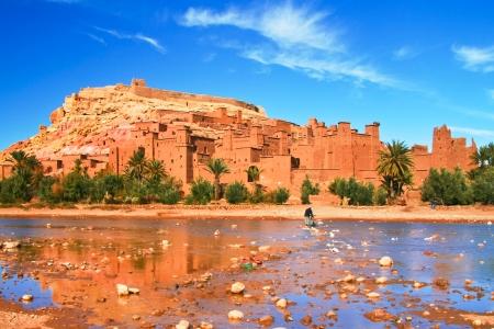 Panorama of the ancient moroccan kasbah Ait Benhaddou, near Ouarzazate, Morocco