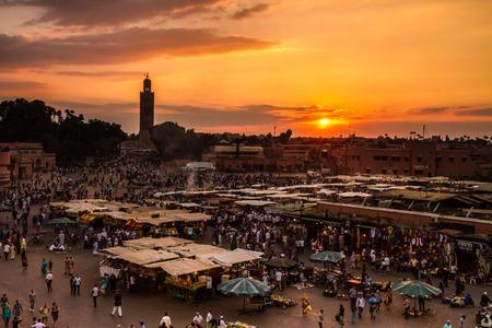 Jamaa el Fna also Jemaa el Fnaa, Djema el Fna or Djemaa el Fnaa is a square and market place in Marrakesh's medina quarter (old city). Marrakesh, Morocco, north Africa.