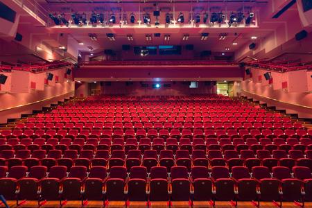 Photo pour Interior of modern empty red congress hall. - image libre de droit