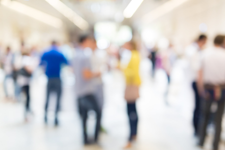 Photo pour Abstract blurred people socializing during coffee break at business meeting or conference. - image libre de droit