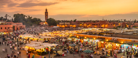 Jamaa el Fna market square, Marrakesh, Morocco, north Africa. Jemaa el-Fnaa, Djema el-Fna or Djemaa el-Fnaa is a famous square and market place in Marrakeshs medina quarter.
