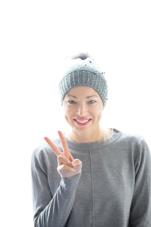 Close up portrait of cheerful caucasian blond woman