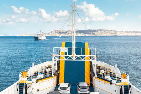 Ferry boat ship sailing between Palau and La Maddalena town, Sardinia island, Italy.