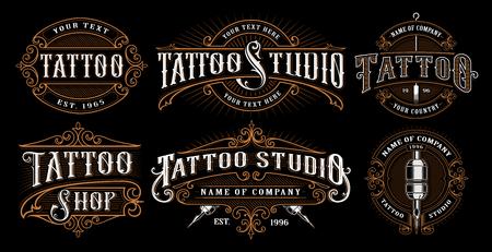 Illustration pour set of vintage tattoo emblems. - image libre de droit