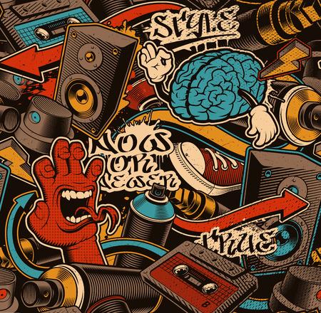 Illustration pour Seamless Graffiti background. Colorful seamless pattern with doodle art. - image libre de droit