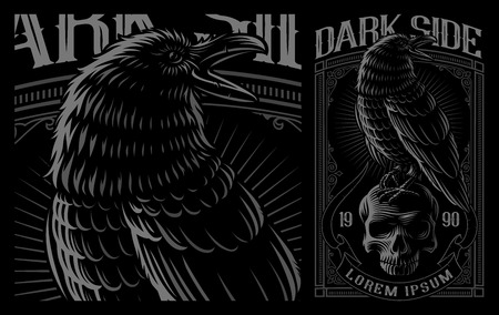 Illustration pour Black Raven on the skull. Vector illustration of print for the shirts on the dark background. Layered, text is on the separate group. - image libre de droit