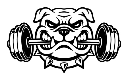 Photo for Black and white illustration of a bulldog with dumbbell - Royalty Free Image