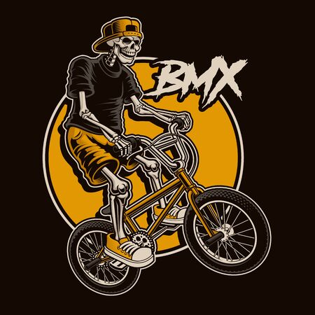 Illustration pour illustration with a skeleton is jumping on bmx bike. - image libre de droit
