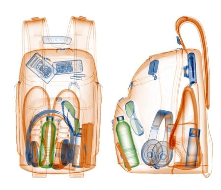 Photo pour Backpack under xray on security control   - image libre de droit