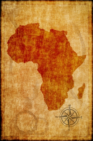 Africa map on parchment. Retro map.