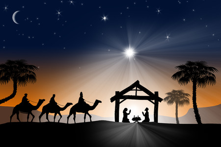 Traditional Christian Christmas Nativity scene with the three wise men