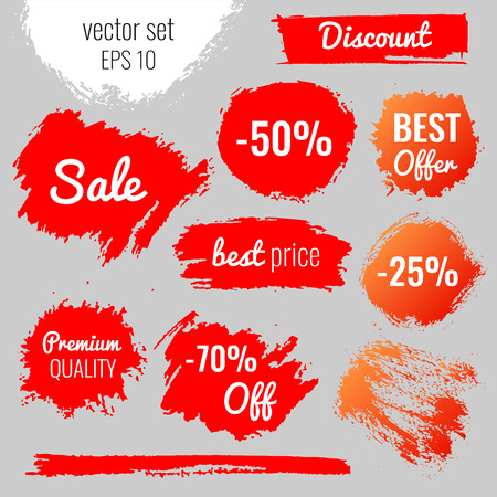 Illustration pour Blots, stains to label, discount, best price. Vector set illustration in grunge style EPS10 - image libre de droit