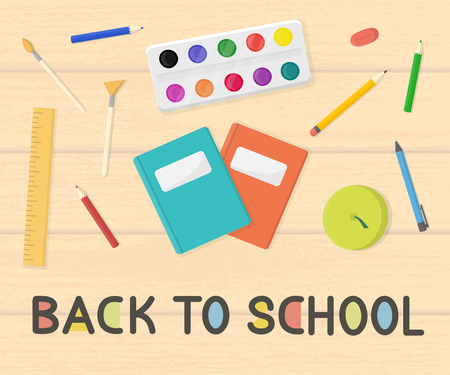Vector illustration of back to school consept. Wooden table with objects on it.