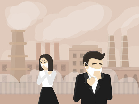 Illustration pour People cough because of air pollution. Vector eps10 illustration. - image libre de droit