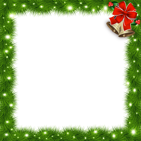 Illustration for Template with vector christmas tree branches and space for text. Realistic fir-tree border, frame with red bow isolated on white. Great background for christmas cards, banners, flyers, party posters. - Royalty Free Image
