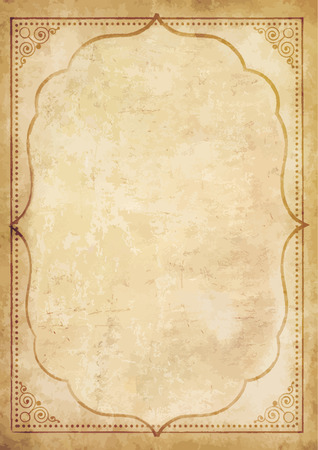 Illustration pour Old grungy vintage paper blank with curly oriental frame ornament. Worn papyrus template for mail, aged letter paper with space for text or image. Highly detailed vector illustration, border. - image libre de droit