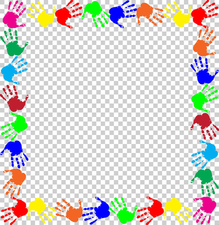 Ilustración de Bright rainbow frame with empty copy space for text or image and multicolored handprints border isolated on transparent background. Vector festive template, photo frame, mockup for invitation design. - Imagen libre de derechos