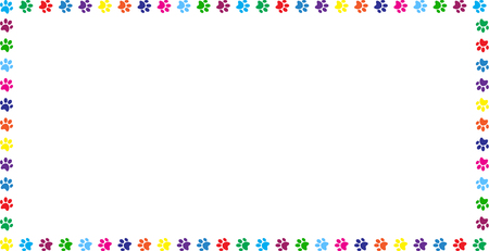 Illustration pour Rectangle frame made of multicolored rainbow animal paw prints on white background. Vector illustration, template, border, framework, photo frame, poster, banner, cats or dogs paw walking track. - image libre de droit