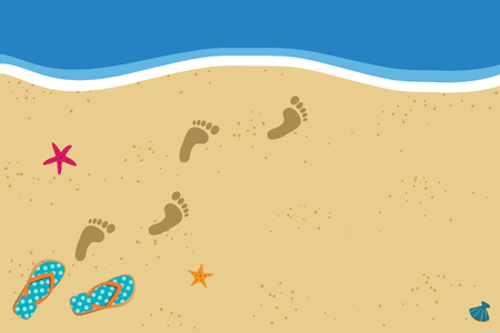 Illustration for Summer vacation vector photo border frame with pair of flip flops and human barefoot foot prints on sand going into water. Sandy sea beach with footprints and shells template with space for text. - Royalty Free Image