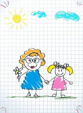 Illustration for Children colorful pencil drawings. Vector illustration of grandmom and granddaughter holding hands on squared notebook sheet background. Kids doodle drawings of girl and woman together. - Royalty Free Image