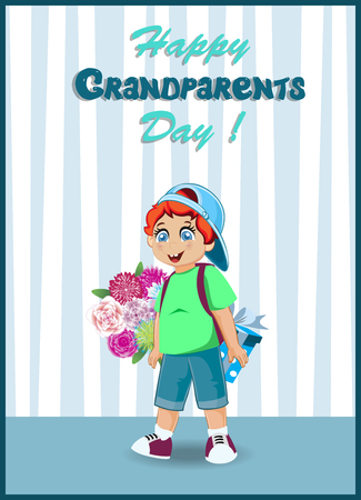 Happy Grandparents Day Greeting Card Cartoon Vector