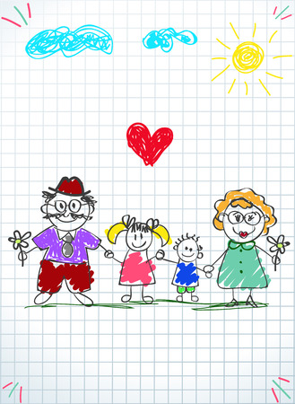 Illustration for Children colorful hand drawn vector illustration of man, woman and children holding hands together on squared notebook sheet background. Happy family kids drawings - Royalty Free Image