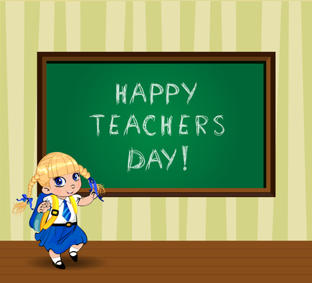 Happy teachers day greeting card with cute cartoon school girl wearing uniform with backpack near chalckboard in classroom. Vector illustration of kawaii pupil, student kid character, banner, postcard
