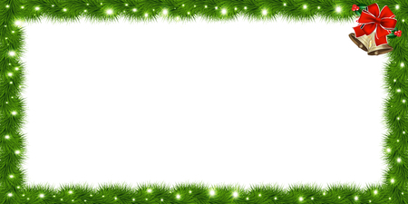 Illustration pour Realistic vector fir-tree rectangle border, frame with red ribbon and bells isolated on white background. Template with christmas tree branches and empty copy space for text. New year photo frame. - image libre de droit
