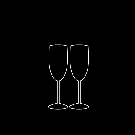 White outline silhouette of couple champagne or wine glasses on black background. Cheers icon. Fragile or packaging glass symbol, sign, clipart. Monochrome vector illustration of two champaign glasses