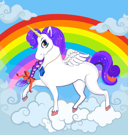 Multicolor vector cartoon baby Illustration of white pony unicorn princess character with big eyes, golden horn, feather wings and violet mane standing on clouds with rainbow. Banner, poster, postcard.
