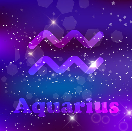 Aquarius Zodiac Sign And Constellation On A Cosmic Dark Blue Purple Background With Glowing Stars And Nebula Vector Illustration Banner Poster Card Space Astrology Horoscope Astronomy Neon Fantasy Design Royalty Free Vector Graphics