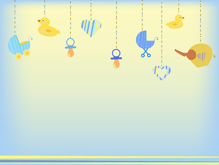 Photo pour baby shower background with baby toys - image libre de droit